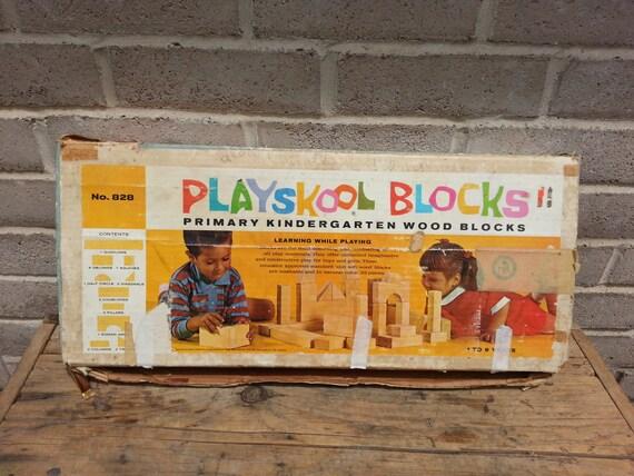 Playskool Kindergarten Big Large Wood Blocks Set 30 Piece