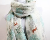 MINT Life of Tree with Deer Aztec Scarf Minty Green Scarf with Tree Pattern