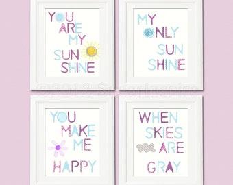 You are my sunshine, blue and purple, Nursery Art Print Set,  8x10, Kids Room Decor, Baby / Children Wall Art , baby room decor, happy