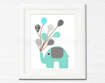 Grey and teal elephant Nursery Art,  nursery room decor,  8x10, kids room decor, nursery wall decor, blue and grey, aqua