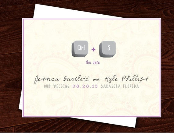 Premade Customized Wedding Card 4X6 Save the Date video games geekery Ctrl S gamer
