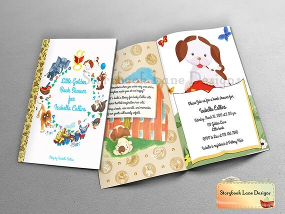 little golden book theme baby shower invitation or all occasions