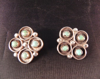 Vintage Native American  Indian Clip Earrings with Turquoise Snake Eye Settings