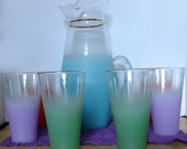 Vintage Blendo Teal Pitcher With Six Purple, Orange, and Green Tumblers