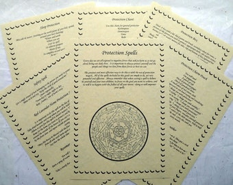 13 Protection Spells BOOK OF SHADOWS page set wicca print parchment spell ritual