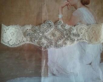 Wedding Toss Garter- Rhinestone Garter on Ivory Lace  - Style TG10040
