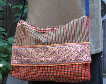 Orange & green cotton plaid messenger bag