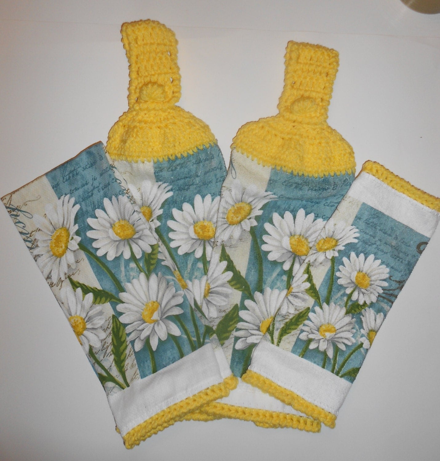 Daisy Kitchen Set Crochet Hanging Towels Dish Cloth Cotton