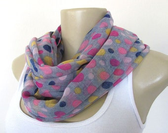 Grey Scarf - Pink Blue Yellow Cream Dots Scarf