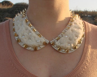cream collar necklace with spikes, pearls, rhinestones ,ready to ship