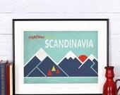 Retro print, poster, explore Scandinavia, discover Scandinavia, Scandinavian landscape, vintage poster, print, sunset, retro wall decor, - EmuDesigns