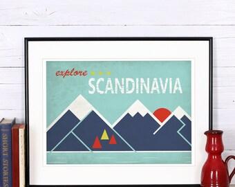 Retro print, poster, explore Scandinavia, discover Scandinavia, Scandinavian landscape, vintage poster, print, sunset, retro wall decor,