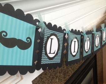 Mustache Bash Little Man Baby Shower Banner - Turquoise/Aqua & Black - Party Packs Available