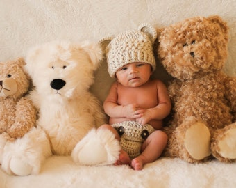 Baby Bear Beanie and Diaper Cover Set/ Photo Prop.