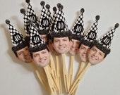 Over the hill birthday hat photo cupcake toppers .