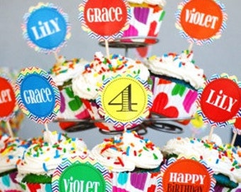 Personalized  rainbow cupcake toppers. set of 12