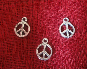 925 sterling silver oxidized antique peace sign charm, pendant 1 pc.