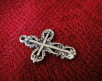 925 sterling silver cross charm, oxidized cross pendant,