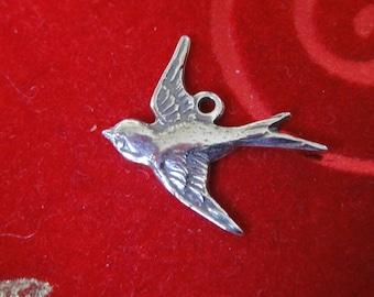 1 pc.925 sterling silver oxidized Swallow Bird Charm, Pendant , silver swallow bird charm, swallow bird, flaying bird