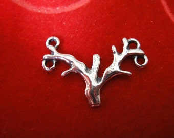 925 sterling silver oxidized branch charm, connector, silver branch connector,spacer, silver connector,link,silver branch