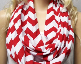 RED & White Chevron Print  Infinity Scarf   Jersey Knit Gift Ideas