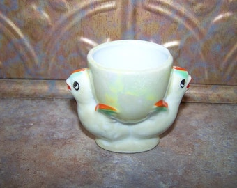 A Cheery Vintage Ceramic Double Chick Egg Cup