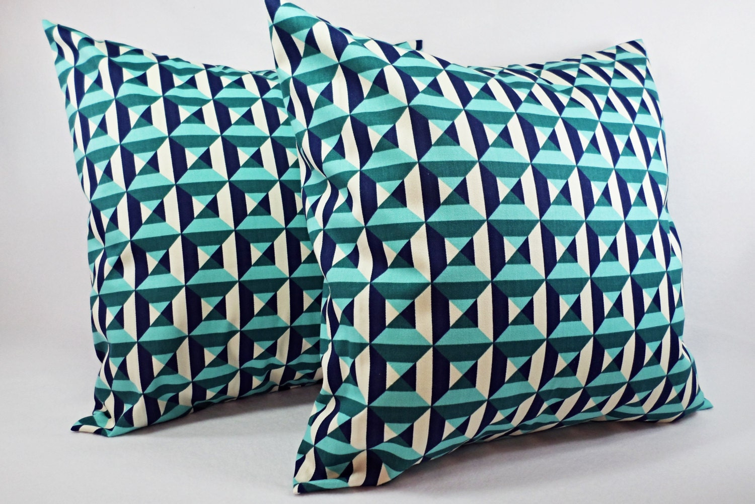 Navy And Teal Throw Pillows: Two Navy And Teal Pillow Covers 18 X 18 By CastawayCoveDecor