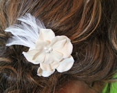 Vintage inspired taupe hair accessory with ivory pearls and feathers