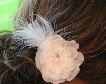 """Blush Colored Flower with antiqued feathers and pearl and crystal cluster detail, hair clip """"Stella"""""""