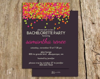 Neon Confetti Bachelorette Party Invitation