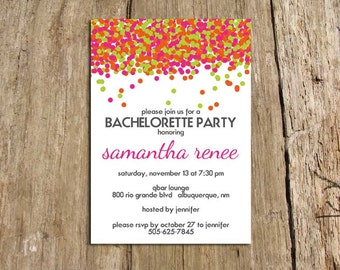 Neon Confetti Bachelorette Party Invitation with white background - Digital File