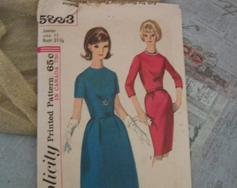 1964 Simplicity Printed Pattern 5663 Junior Size 11