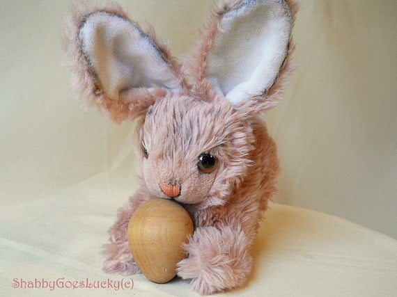 Vintage Steiff Cosy Mummy rabbit with swivelling head, stuffed Easter bunny toy, big amber glass eyes, hand painted mohair, shabby bunny