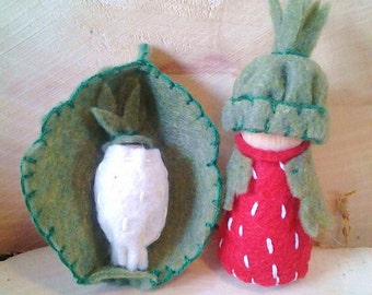 Strawberry Mama and Baby  - Waldorf Gnomes