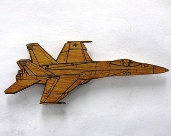 F/A-18E Super Hornet Wooden Fridge Magnet