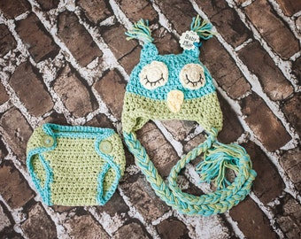 Sleepy Owl hat and diaper cover handmade set Perfect for photos