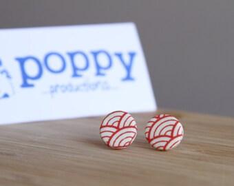 White Porcelain / Ceramic Stud Earrings - Red Japanese Wave