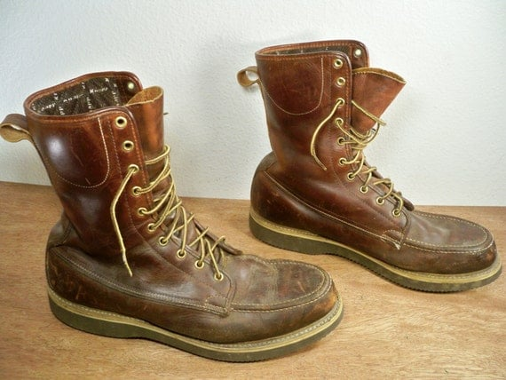 Vintage KNAPP Shoes Made in America Brown Leather Sport Hunting Work
