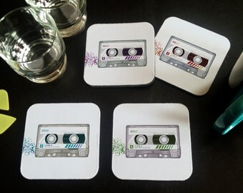 Cassette: Coasters, Set of 4 (As Shown)