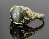 Rare Cat's Eye Chrysoberyl Fine Green Gem in Art Nouveau Green Gold Setting RGCB201D