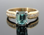 RESERVED - Down Payment - Blue Zircon and Pave Diamond Engagement or Right Hand Ring in Fine Gold  RGZC507D