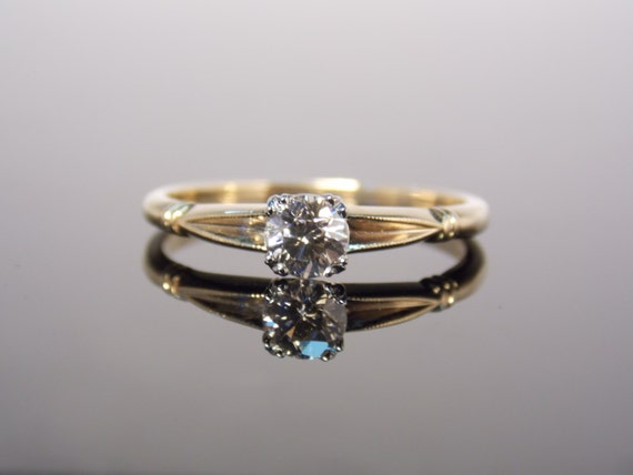 Simple Two Tone 1940s Solitaire Diamond Engagement by MSJewelers