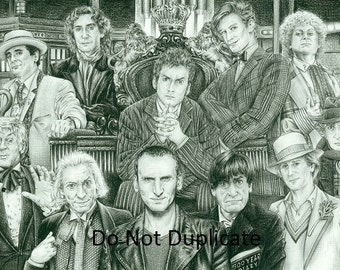 The Ultimate Doctor Who Montage 11 x 17 Pencil drawing print