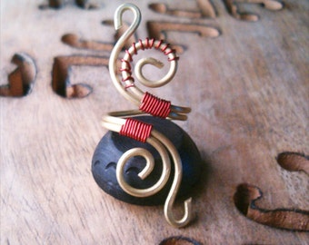 Wire Wrapped Brass and Copper Adjustable Ring - wire wrapped ring handmade