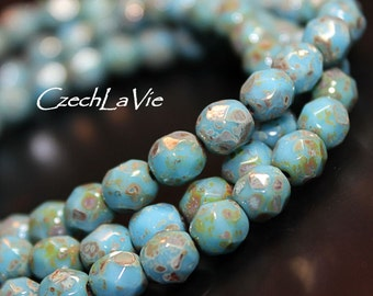Fire polish 6mm - Sky blue with a silverish picasso finish (152), Czech Glass Beads, Spacers, Round Beads