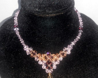 beadweaving jewelry bead woven necklace crystals Swarovski pink necklace