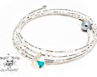 CLEARANCE : Pearl & Seed bead Memory Wire Bracelet With Crystal Pendant,