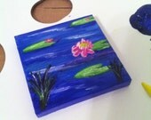 "Original Hand Painted 3x3 inch Mini Canvas Magnet - ""Bloomin' Lily Pads"""