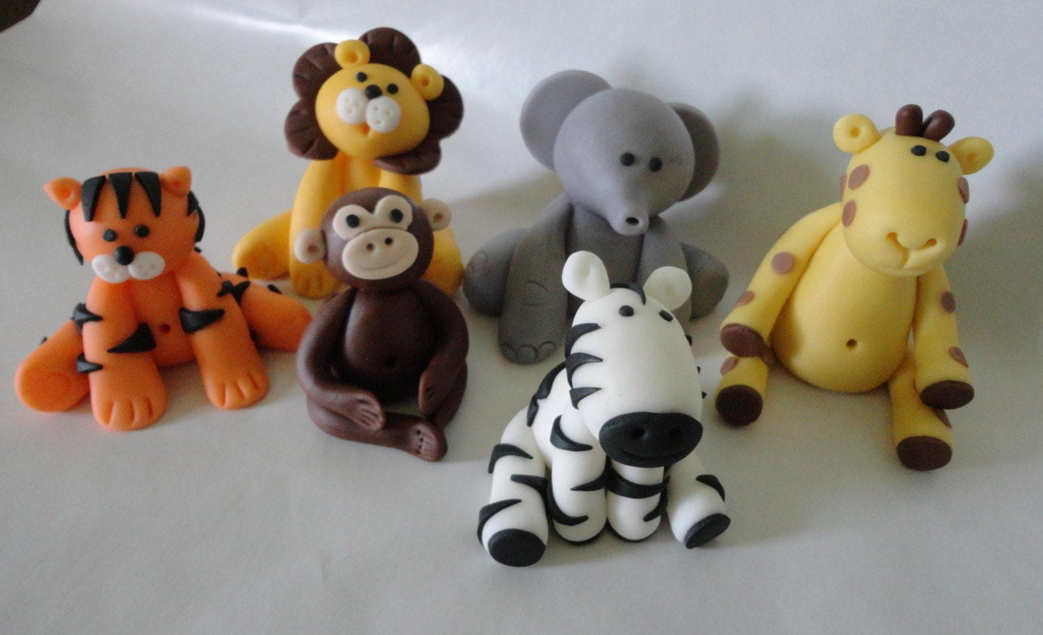 6 fondant safari jungle animal theme cake toppers for Animal cake decoration