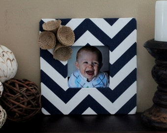 Navy Chevron Frame with Burlap Flowers